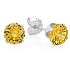 925 Sterling Silver Stud Earrings 6 mm 2.8 carat CZ Fancy Yellow Color