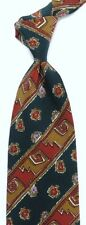 """Abstract Green Striped CHARLES JOURDAN Silk Tie 3.8"""" Wide 54"""" Long Made in ITALY"""