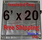 "6' x 20' Insulated Poly Tarp 1/2"" Foam Core Concrete Padding Wall Cushion Kiln"