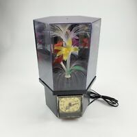 Vintage Fiber Optic Color Changing Rotating Flowers Clock Plastic Lamp 1980s