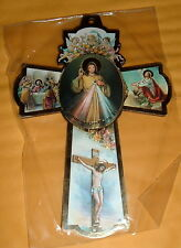 DIVINE MERCY  6 in Wd Cross NEW Catholic Spanish Wording ST Faustina ITALY
