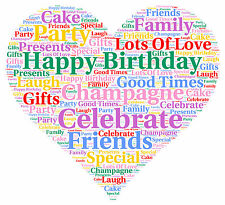 Birthday Personalised Word Art A4 Gift Keepsake - Any Colours