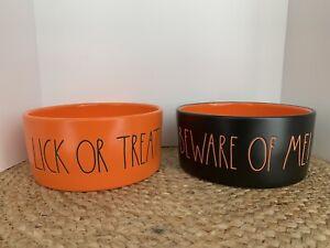 "Rae Dunn Halloween ""Beware Of Me"" & ""Lick Or Treat"" Black Orange Dog Bowl Set"