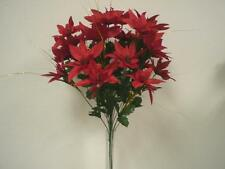 "RED Christmas Poinsettia Bush 24 Artificial Silk Flowers 24"" Bouquet 030RD"