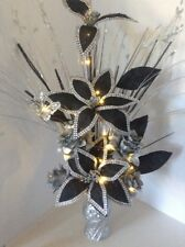 Artificial Flower Arrangement Black Flowers In Silver Glitter Vase Lights Up