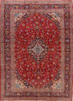 Vintage Floral Medallion Ardakan Hand-Knotted Area Rug 10x13 Red Oriental Carpet