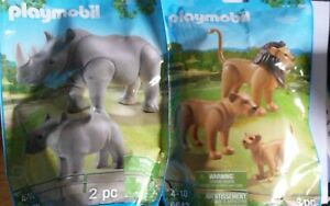 Playmobil lot Lion Family  6642 and Rhino with a baby 6638