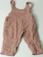 GIRLS NEXT PINK & GREY DUNGAREE TROUSERS ALL IN ONE ROMPER AGE 6-9 MONTHS