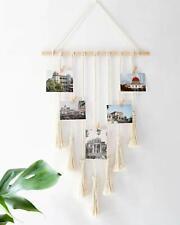 Hanging Photo Display Macrame Wall Hanging Pictures Organizer Boho Home Decor