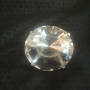 "Jumbo Clear Glass ""Diamond"" Engagement Ring Paperweight, Gag Gift, Napkin Ring"