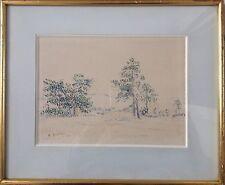 Andrée SÉAILLES 1891-1983.Plaine de Chanfroy.Aquarelle.20x28.SBG.Cadre.Située.