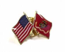 Waving Flag W/Usa) - Made in Usa Marine Corps Usmc Flag Lapel Pin (Double