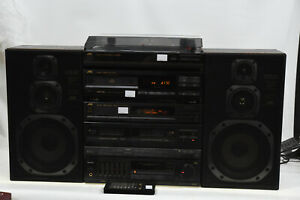 JVC DR-E300BK Radio Cassette Receiver Amplifier & Turntable/CD Player/ Speakers