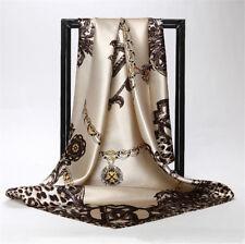 Wome's Lady Soft Silk Leopard Print Long Scarf Wrap Shawl Beach Towel 90x90cm
