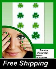 20 Jewel Shamrock St. Patricks Day Toe nail / finger nail art decals / stickers