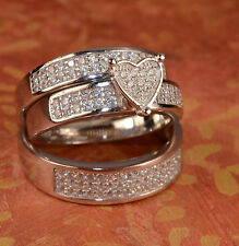 White Gold Finish Heart Engagement Ring Wedding Bands Set His and hers L6 M9