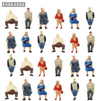 P4804 24 pcs All Seated Figures O scale 1:43 Painted People Model Railway NEW