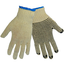 White string knit gloves/One side dotted, S55D1, Sold/Dozen