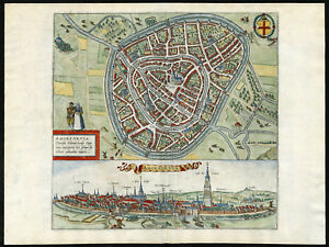 Antique Print-AMERSFOORT-PLAN-VIEW-NETHERLANDS-Hogenberg-Braun-1575
