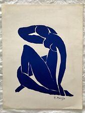 BEAUTIFUL VINTAGE RARE ART PRINT LITHOGRAPH ARTIST HENRI MATISSE BLUE NUDE WOMAN
