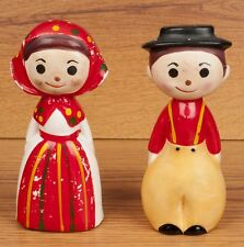 Vtg 60s Dutch Amish Mennonite Boy Girl Man Woman Kitschy Salt Pepper Shaker Set