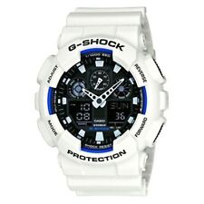 Casio G-shock Chronograph White Resin Strap Mens Wrist Watch - GA-100B-7AER