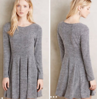 Anthropologie Sz XS Knit Piper Dress Gray Polyester Long Sleeve A-Line        AW