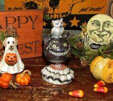 Primitive Antique Vtg Style Retro Halloween Black Cat w/ Owl Resin Bobble Head