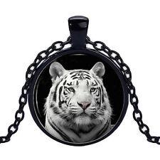 Wholesale Cabochon Glass Black  Chain Pendant Necklace ,White Tiger /37