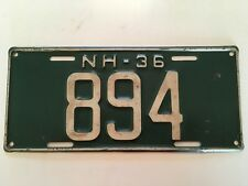 1936 New Hampshire License Plate Low Number 3-Digit NICE ALL ORIGINAL