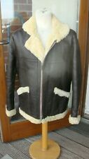 vintage sheepskin shearling jacket coat brown flight flying air bomber motty