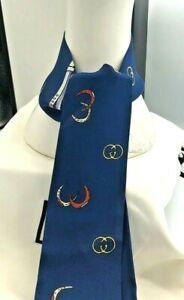 Gucci Scarf Men's Double Logos Silk Twill Blue Sapphire Skinny Scarf