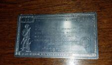 WW2 World War II Government War Bond Aluminum Appreciation Plaque Medal 1946