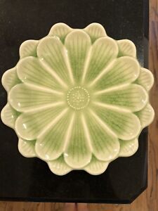 Japanese Plates Set Of 4 Light Green And White 7.5 Inches