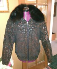 Radlee Black/Gold Leather, Paisley Print Coat, Fox Fur Collar Size L Zippered EC