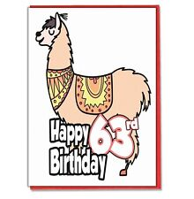 Llama 63rd Birthday Card - Husband Wife Boyfriend Girlfriend Sister Friend Mate