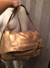 Jimmy Choo BIKER Frappe Gold Metallic Leather Chains Foldover Shoulder Bag $1995