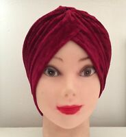 VELVET NEW HEAD WRAP INDIAN STYLE TURBAN HAT SOFT VELVET BURGUNDY