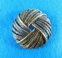 Vintage Brooch Pin Signed ART Large Two Tone Gold Silver 2 Inch