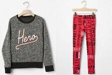 GAP Kids NWT Size XS 4-5 Marled HERO Sweatshirt Statement Button Leg Outfit Set