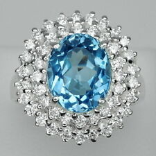 STUNNING!  BLUE TOPAZ & WHITE SAPPHIRE STERLING 925 SILVER RING SIZE 6.75
