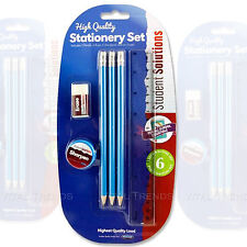KIDS SCHOOL STATIONERY SET PENCILS RULER ERASER SHARPENER - 6 Pc Set