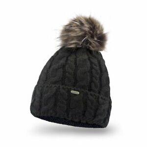 SCJ Damen Bommel-Mütze Winter Strickmütze Fleece-Futter Fellbommel 15568 Gr. UNI