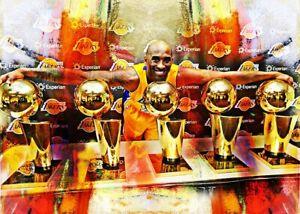 2021 Kobe Bryant Lakers Basketball 3/25 Art ACEO Print Card By:Q