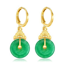 7Vintage Earrings Women Carved 24k Yellow Gold Filled Jade Stone Wedding Jewelry