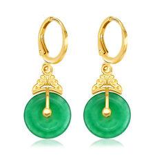 Vintage Earrings Women 24k Yellow Gold Filled Green Jade Stone Wedding Jewelry