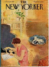 1951 New Yorker Cover November 10 - What to do with the cat's litter of kittens?