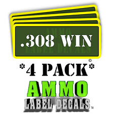 """.308 WIN Ammo Label Decals Ammunition Case 3"""" x 1"""" Can stickers 4 PACK -YWagRD"""