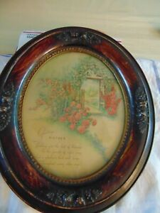 1900's Print Honoring Mother in Beautiful Oval Frame, 1900 Calendar on Back