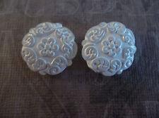 White Crystal Coin Beads 22mm Round Mediterranean Design German Lucite - Qty 2
